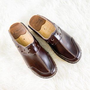 TROENTORP Swedish Brown Leather Wooden Clogs 36